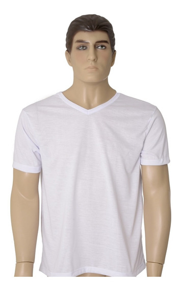 10 Camisetas 100% Poliéster Gola V Ideal Sublimação Atacado