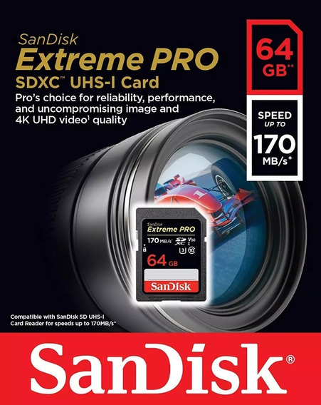 Cartão Sd Sandisk Extreme Pro 64gb 170mb Lacrado Nikon Camera Profissional Digital Samsung Canon Eos 7d 6d 5d