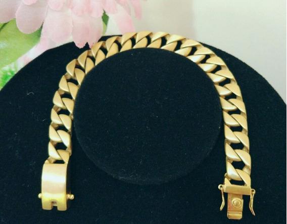 Pulseira Dourada Fosca Estilo Ouro Envelhecido. Fecho Gaveta