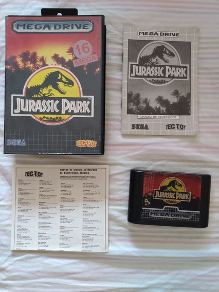 Cartucho Mega Drive Jurassic Park Completo Original Tec Toy