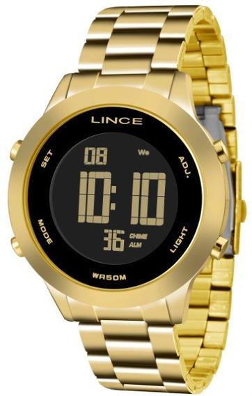 Relógio Lince Digital Dourado Fundo Preto 34132