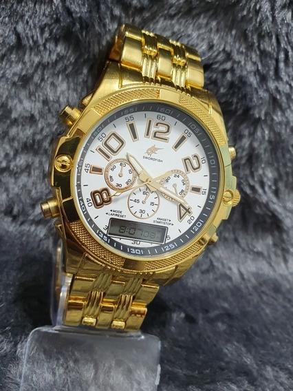 Relógio Masculino Digital E Análogo Gold Premium Garantia