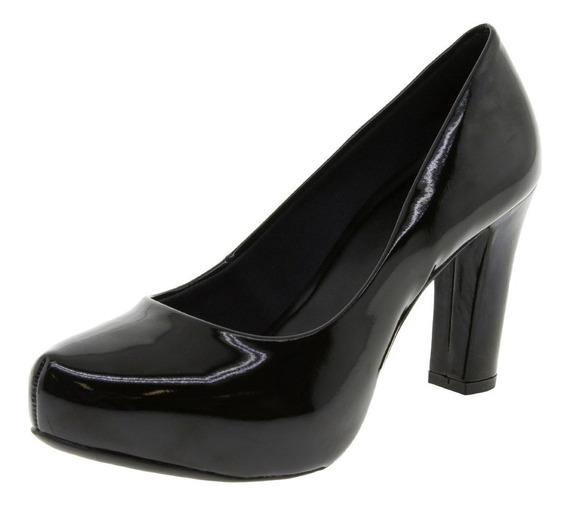 Sapato Feminino Salto Alto Verniz/pret /nud- 1586650 10cm