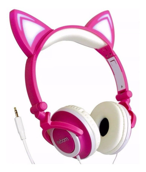 Fone De Ouvido Headset Orelha Gato Pc Celular Infantil P2