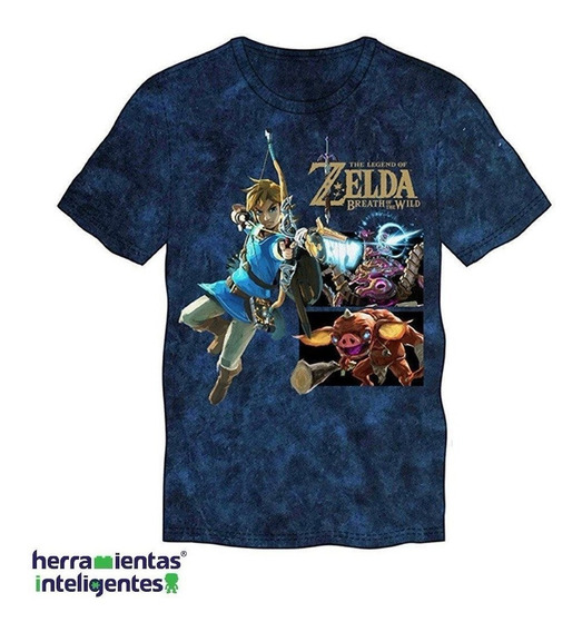 Link With Monsters Legend Of Zelda Playera Azul Bioworld