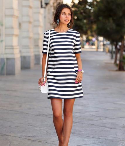 81e38b5c8 Vestido De Usar Com Tenis Listrado - Vestidos Casual com o Melhores ...