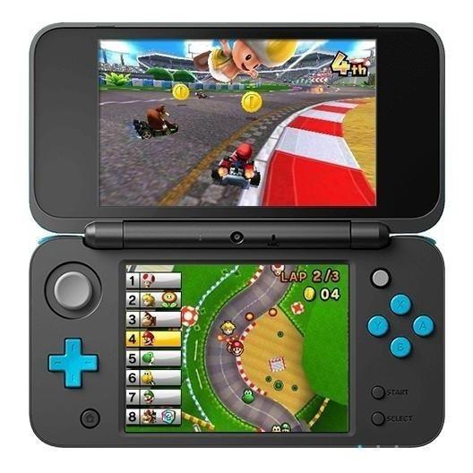 Nintendo New 2DS XL Mario Kart 7 Bundle preto/azul-turquesa