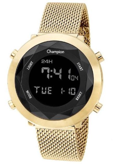 Relógio Champion Digital Dourado Negativo Pulseira Em Malha