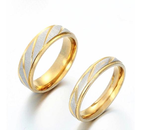 Aliança 4 Ou 6mm Aço Inox Banhado Ouro Casamento Noivado