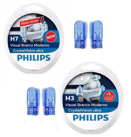 Kit Lampadas Philips Crystal Vision Ultra H3 + H7 4300k