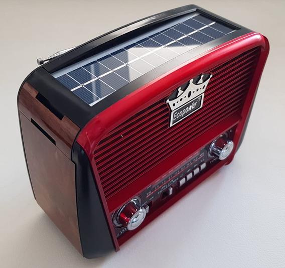 Rádio Retrô Solar Ecopower Ep108-pendrive,usb,sd E Bluetooth