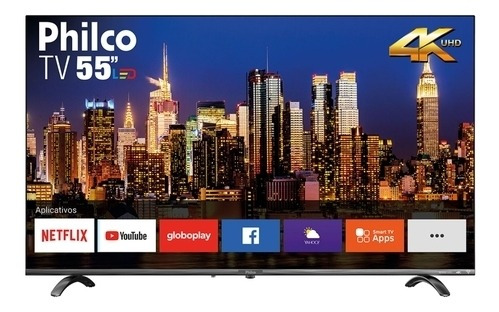 Smart Tv Led 55 Philco Ptv55q20snbl Ultra Hd 4k Hdr Borda