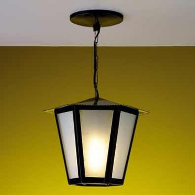 Pendente Colonial Sextavada Grande Ideal Iluminação Preto