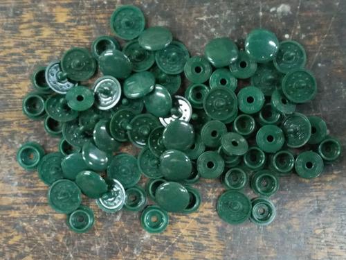 40 Broches Presion Plastico * 15 Mm * Verde Ingles * Condal