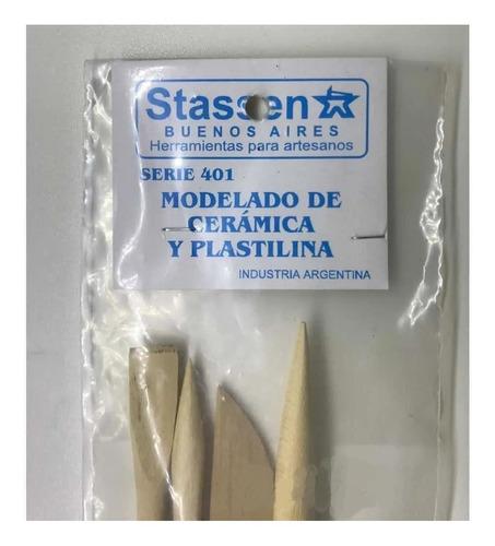 Imagen 1 de 3 de Stassen Set De 4 Estecas Madera Serie 401