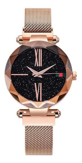 Relógio Feminino Céu Estrelado Iuxo Pulseira De Imã