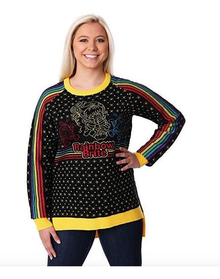Suéter Navidad Ugly Sweater Mujer Retro Rainbow Brite M
