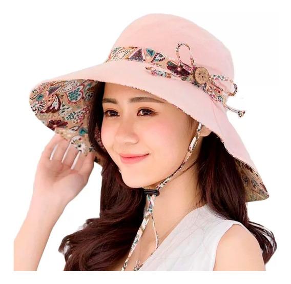Sombrero Doble Vista Dama Mujer Playa Proteccion Uv