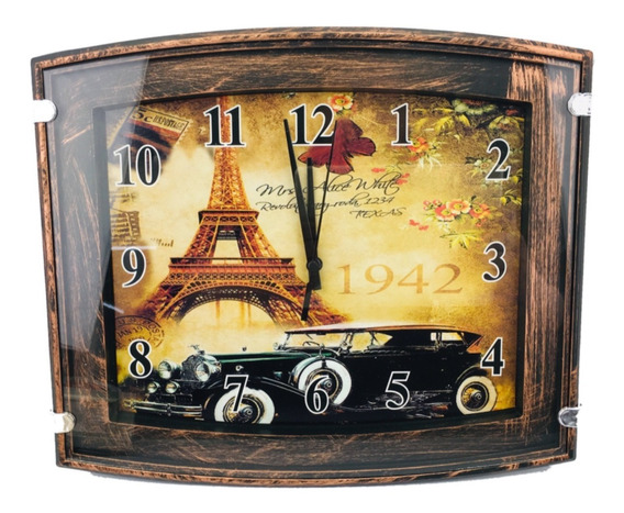 Reloj De Pared Paris 1949 Vidrio Rectangular 31cm X 26 Cm
