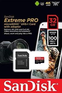 Cartão Memória Sandisk Micro Sd Hc 32gb Extreme Pro 4k C10