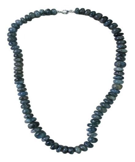 Colar Águamarinha Moss Cabochão Beads 6mm-9mm Em Prata 925