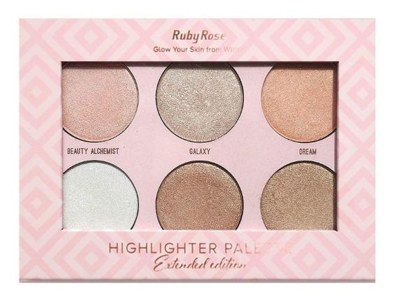 Ruby Rose Iluminador Highlighter Palette 6 Cores - Hb-7501