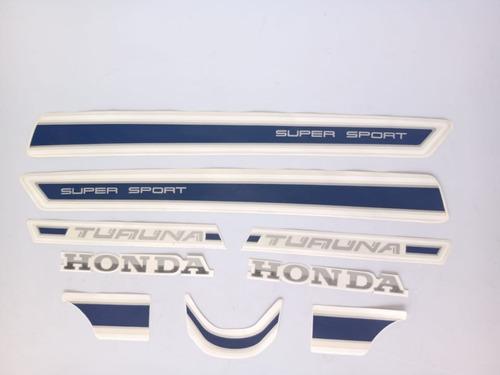 Imagem 1 de 3 de Jogo De Faixas Honda Turuna 125 1983/1984 Vermelha Lbm