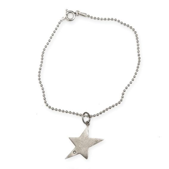 Pulseira Estrela Com Brilhante - Tuca Ahlin - Prata 950k