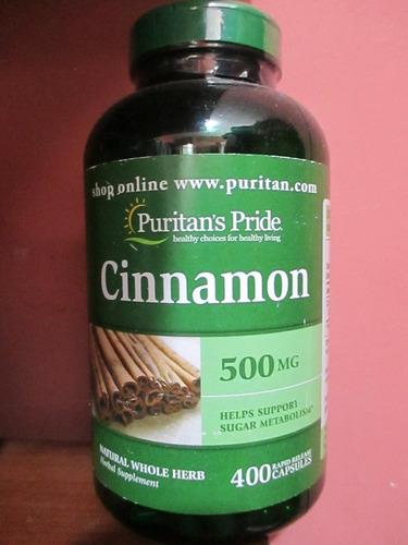 Canela Cinnamon 500mg Marca Puritas Pride 400 Unidades