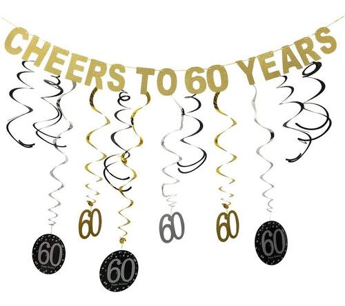 Imagen 1 de 6 de Guasslee Kit De Decoracion Para Fiesta De 60 Cumpleaños