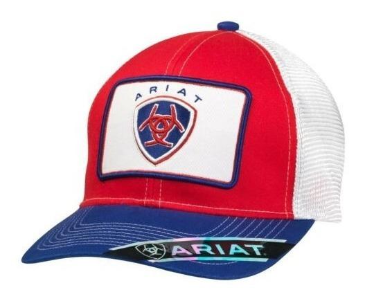 Gorra Ariat 1500704 Roja Con Red Blanca Y Visera Azul