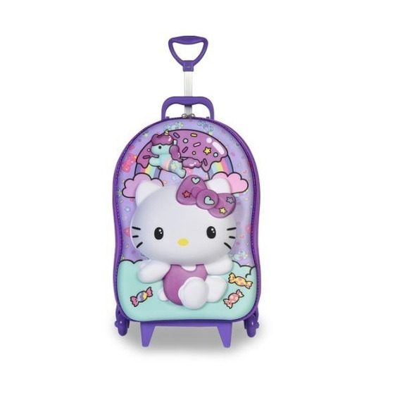 Mochila Escolar Maxtoy Hello Kitty Rainbow 3 Rodas - 3d