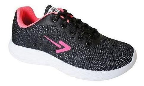 Tenis Box Tecido Sola Eva Caminhada - Bx1828 Preto/rosa
