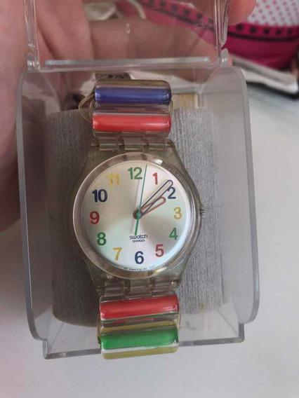 Relógio Swatch Colecionável Colorido Transparente