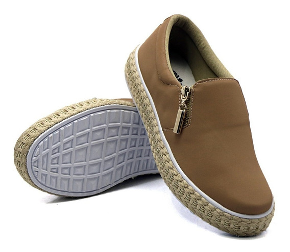 Slip On Feminino Liso Dkshoes Casual Ziper Lateral Det Corda