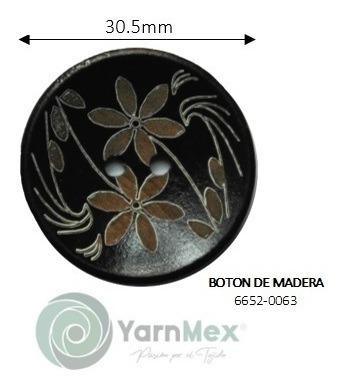 Botón De Madera   6652-0063 - 10pzas