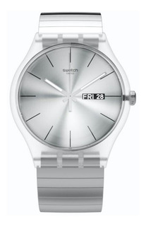 Reloj Swatch Unisex Plateado Suok700 Talle B Malla Acero