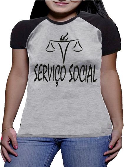 Camiseta Servico Social Feminina Baby Look Feminina Camisas