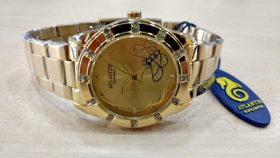 Relógio Atlantis Borboleta Fem. Luxo Original Frete Grátis.