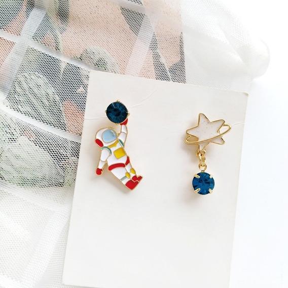 Aretes Espacio Astronauta Estrella Cometa Cute Kawaii Japon