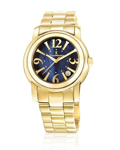 Relógio Pulso Jean Vernier Feminino Aço Dourado Jv01007