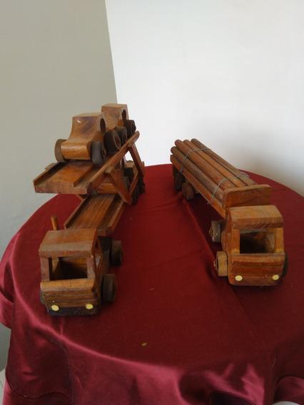 2 Carritos De Madera Artesanales En Madera