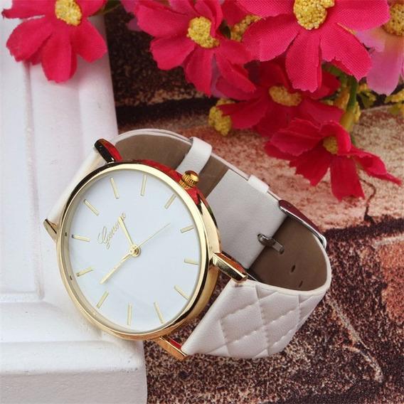 Relógio Feminino Vermelho Branco Marrom Barato Couro Present