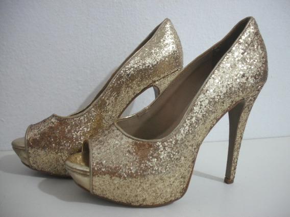 Peep Toe Plataforma Meia Pata Glitter Dourado 37 Gabriela