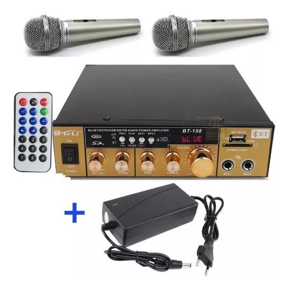 Amplificador Áudio Receiver Bluetooth 110v/220v +2microfones