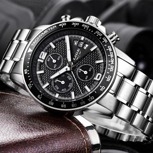 Relogio Lige Silver Black Aço Luxo Cronometro
