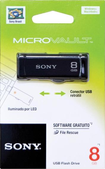 Pen Drive Sony 8gb Original Retrátil Indicador De Led Preto