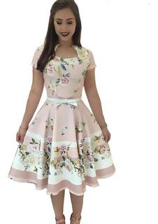 Vestido Estampado Midi Moda Feminin Evangélica