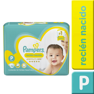 1 Paquete Pañales Pampers Premium Care 36 Unidades Talla P