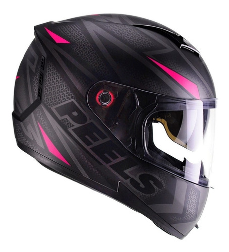 Imagem 1 de 6 de Capacete Feminino Moto Peels Icon Fast Preto Rosa C/ Óculos